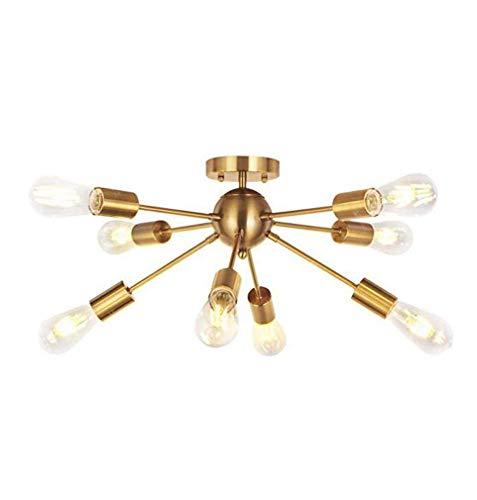 SXDHOCDZ 8 lámparas de techo, Modern Lights industriales de techo para cocina, baño, salón, dormitorio, pasillo, máx. 40 W x 8 (color: dorado)