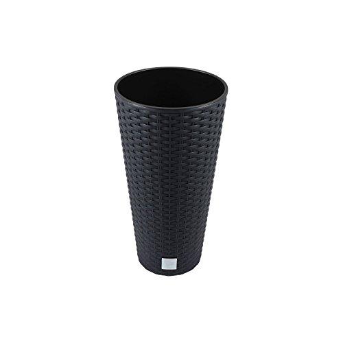 Unbekannt Vaso di Fiori pianta in Vaso su 15 L Vaso Rattan plastica incl. Inserire, Antracite, DRTUS RATO TUBUS