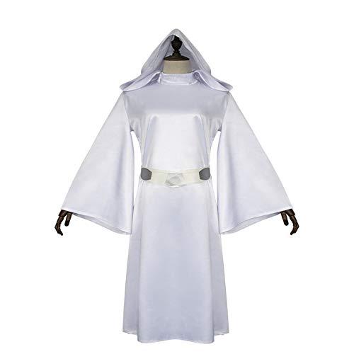 KLJJQAQ Halloween Cosplay Show Kostuum Dames Prinses Leia Witte Jurk
