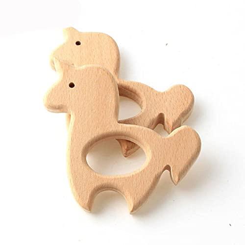 2 uds., Cuentas de madera de haya Natural para dentición de animales para bebés, mordedor para bebés, regalo, sonajero, accesorios de bricolaje, estilo artesanal de madera 35
