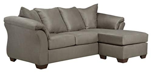 Signature Design by Ashley - Darcy Contemporary Microfiber Sofa Chaise, Cobblestone