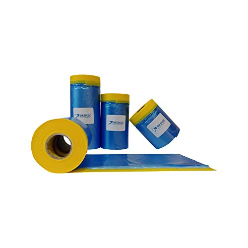 JMIBASIC Plastic Sheeting for Car Paint – Assorted 3 Sizes Multi Pack – No Residue Painters Tape with Drop Cloth – Automotive Masking Tape with Tarp Waterproof 65 Feet (35 x 25 x 18 Inch - 3RL)