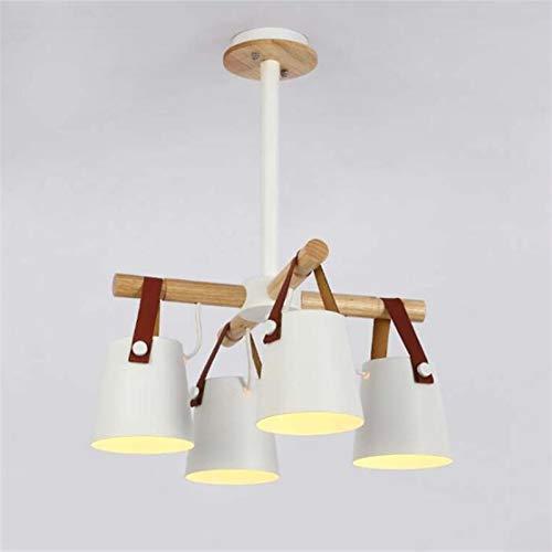 SHENLIJUAN Madera sólida de la lámpara E27 llevó la lámpara for Las Cinturón Loft Salón Dormitorio Restaurante (Body Color : White 4 Lights, Size : Gratis)