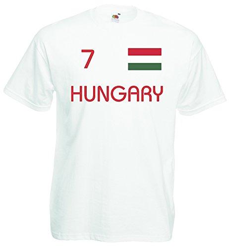 World-of-Shirt Herren T-Shirt Ungarn EM 2016 Trikot Nr 7|Weiss-XL
