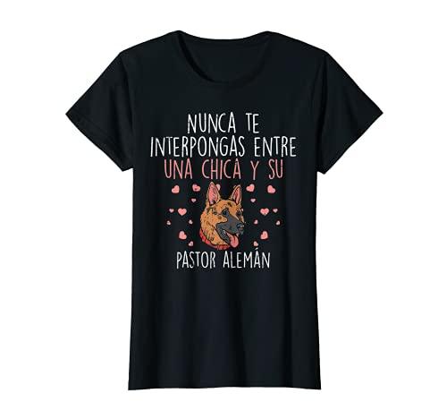 Amor Chica Y Pastor Aleman German Shepherd Mujer Regalo Camiseta