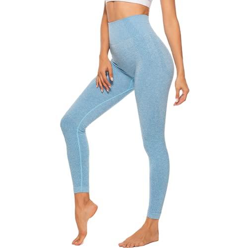 QTJY Pantalones de Yoga sin Costuras de Cintura Alta, Mallas Deportivas para Correr para Mujer, Pantalones Deportivos para Entrenamiento en Cuclillas, Pantalones Deportivos J XL