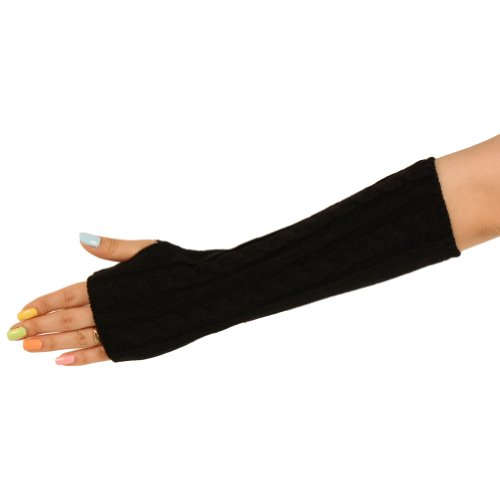 Cable Knit Arm Warmer Fingerless Long Gloves Black