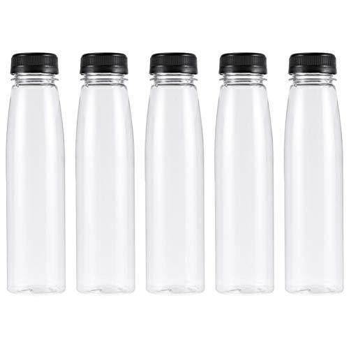 PIXNOR 10 Botellas de Jugo de Plástico Pet Redondas Vacías Respetuosas con El Medio Ambiente de 330Ml Reutilizables Envases de Leche Desechables a Granel con Tapas Negras a Prueba de