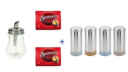 Senseo Kaffeepads Klassisch / Classic, Intensiver & Vollmundiger Geschmack, Kaffee, 2er Pack, 2 x 16 Pads + Zuckerstreuer Glas + 4 Paddosen