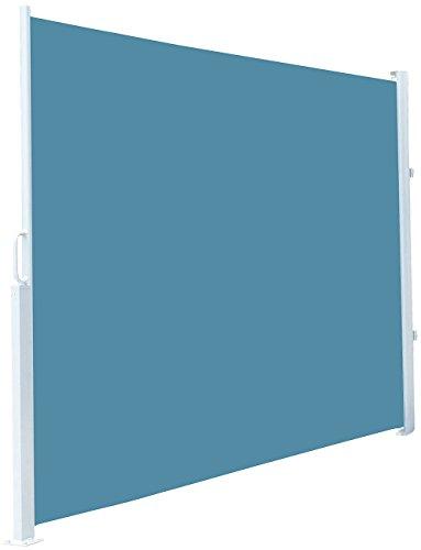 Royal Gardineer Sichtschutzrollo Garten: Seitenmarkise 120 x 200 cm, für Garten, Balkon und Terrasse, blau (Sichtschutzrollo Terrasse)
