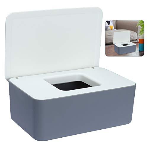 Sinwind Feuchttücher-Box, Aufbewahrungsbox für Feuchttücher, Baby Feuchttücherbox, Toilettenpapier Box, Taschentuchhalter, Spenderhalter mit Deckel für Zuhause und Büro (Weiß-Grau)