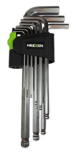 Innensechskantschlüssel Set mit Kugelkopf-Wrexon-Professioneller Schlüsselset mit gummiertem, abschließbarem Griff - Hochwertiges Edelstahlset, bestehend aus 9 Elementen