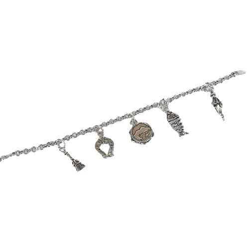 Partnerschaftsarmband Rolokette aus 925er Silber rhodiniert Weißgold mit Glücksbringern aus brüniertem Silber 800