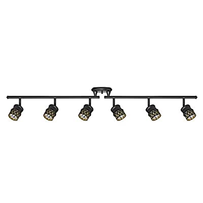 Globe Electric Bar, Finish, Champagne Glass Shades, 6X GU10 50W Bulbs Included, 59086 Kearney 6 Foldable Track Lighting, Oil Rubbed Bronze