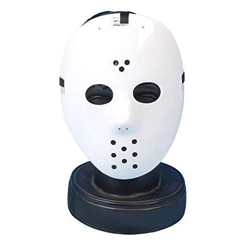 SHATCHI Unisex-Erwachsene Jason Voorhees Freddy Hockey Guy Fawkes Kostüm Halloween Trick or Treat weiße Gesichtsmaske mit Gummizug