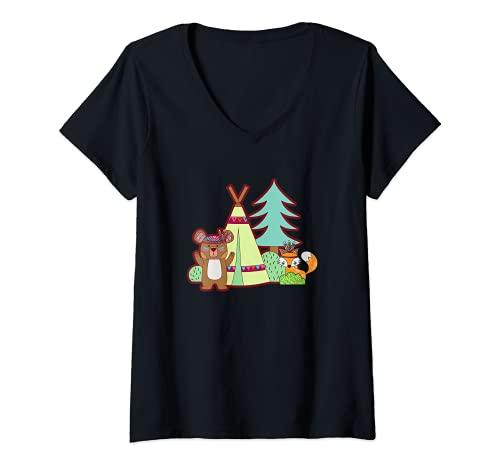 Mujer Lindo oso y zorro Camping en un Tipi Camiseta Cuello V