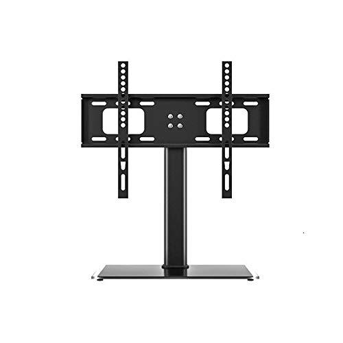 CUIJU Base de Soporte para TV para TV de Mesa de 55 Pulgadas con Soportes Ajustables en Altura Base de Vidrio Templado para Trabajo Pesado Sostiene hasta 40 kg, Negro