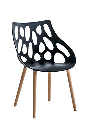 CLP Chaise Retro Hailey en Plastique - Chaise Design à 4 Pieds en Bois d'Hêtre - Hauteur de l'Assise 44 cm et Dossier Large - Facile d'entretien, Couleurs:Noir