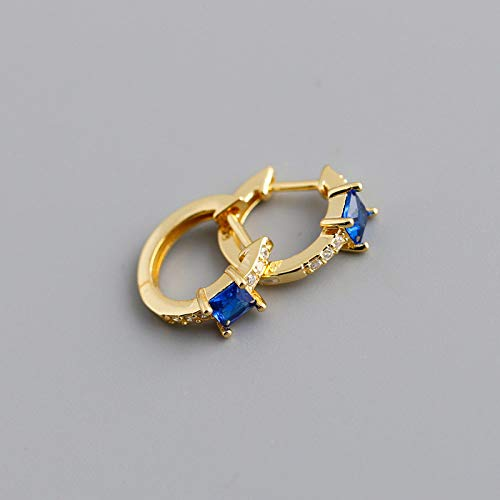 TGHYB 925 Sterling Silver Hoop Earrings,Golden Circle Inlaid Square Blue Zirconia Fashion Punk 925 Sterling Silver Ring Hinge Earring Charm Hypoallergenic Jewelly Gift For Men Lady Girlfriend