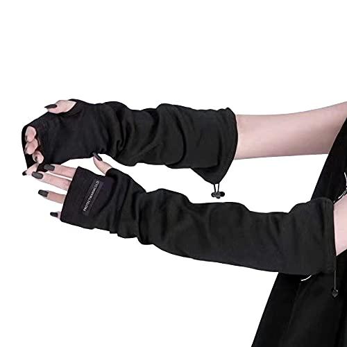 アームカバー レディース アームウォーマー アームスリーブ夏 おしゃれ スマホ操作 ハンドウォーマー 日焼け止め 手荒れ 指掛けタイプ 手袋 UVカット 腕カバー 可愛い ゆったりアームカバージュニア男女兼用黒