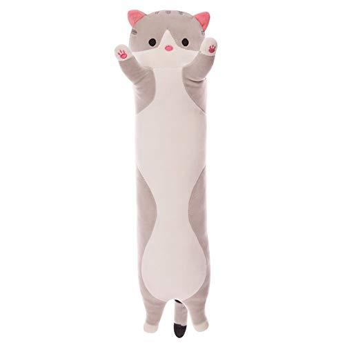 Gray Long Cat Pillow Cartoon Leuke Kat Luie Slaap Pillow Hart van het Meisje van de kat PP Cotton Pluchen speelgoed (Size : 50CM)