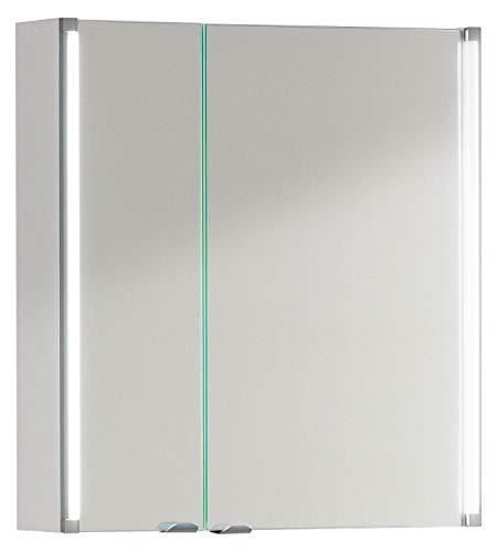 FACKELMANN LED Spiegelschrank / ideal zum verstauen von Badutensilien / Maße (B x H x T): ca. 61 x 67 x 16,5 cm / Schrank mit Spiegel & LED-Beleuchtung fürs Badezimmer / 2 Türen / Korpus: Weiß