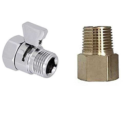 Water Flow Control Valve with 1/2 NPT Male Connections,Shut Off Valve Brass Shower Head Valve with Handle Lever G1/2 Water Flow Control Valve Regulator Chrome