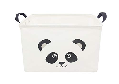 TIBAOLOVER Square Natural Linen & Cotton Fabric Storage Bin Shelves Storage Basket with Handles-for organizing Baby Toys Bins,Kids Toys,Baby Clothing,Children Books, Gift Baskets(Panda)