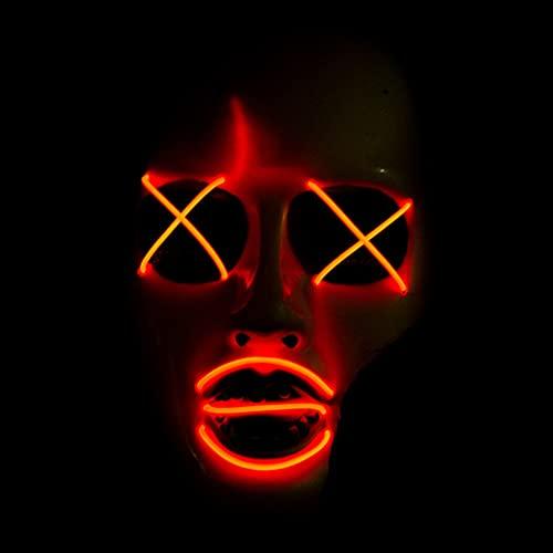 Mscara de Halloween con luz LED para Halloween, Navidad, carnaval, festival, disfraz de cosplay