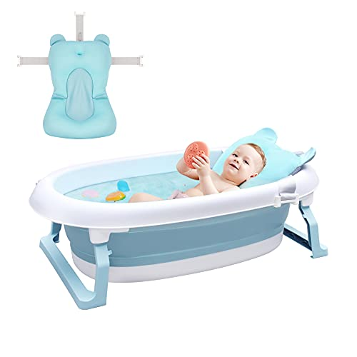 Arkmiido Foldable Bath Tub with Bath Support Net for Babies