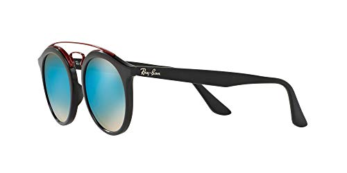 Ray-Ban Injected Unisex Round Sunglasses, Matte Black / Mirror Gradient Blue, 46 mm