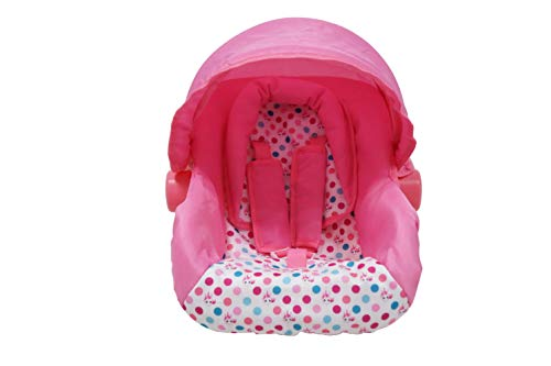 KOOKAMUNGA KIDS Unicorn Doll Car Seat & Carrier - Adjustable Canopy, Padded Headrest, Padded Straps, Movable Handle and 5 Point Harness