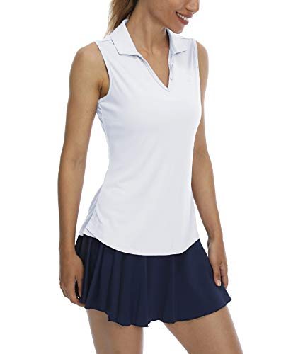 LastFor1 Women's Sleeveless Polo Golf Shirts Quick Dry 50+ UV Protection V-Neck with Collar Lightweight Tennis Tank Tops White M