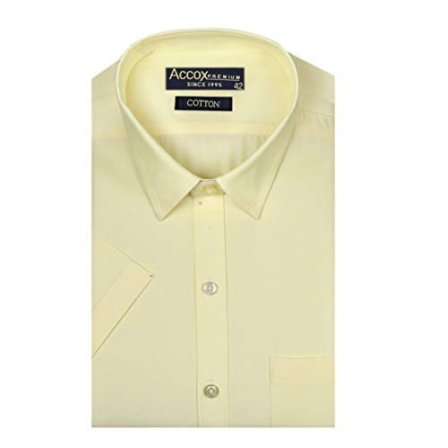 ACCOX Men's Half Sleeves Formal Regular Fit Cotton Plain Yellow Shirt(GO587)