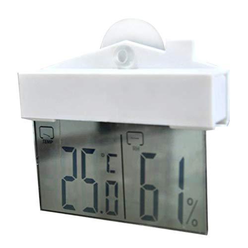 Wilk Temperaturmesswerkzeug Digitale Wetterstation Saugnapf Innen Außen-Thermometer Große LCD-Fenster Thermometer Aräometer