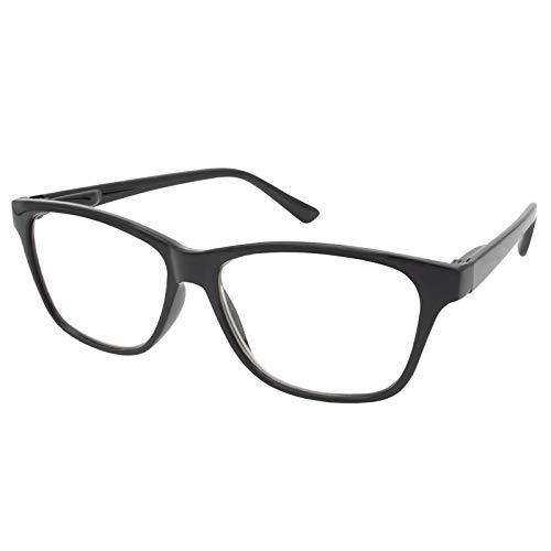 TBOC Gafas de Lectura Presbicia Vista Cansada - Graduadas +1.50 Dioptrías Montura de Pasta [Negra] de Diseño Moda para Hombre Mujer Unisex Lentes de Aumento para Leer Ver de Cerca