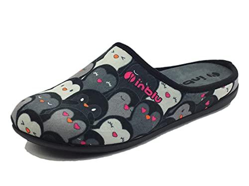 inblu GF000005 Nero Ciabatte Pantofole Donna Invernali EXTRASOFT Antistress Zeppa 2,5 Tomaia con Immagini di Gatti