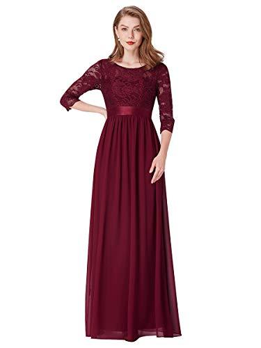 Ever-Pretty Vestito da Cerimonia Donna 3/4 Manich Stile Impero Maxi Linea ad A Pizzo Chiffon Abiti da Damigella Borgogna 36