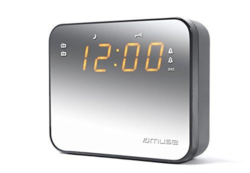 Muse M-165 design klok radio (UKW/MW) met barnsteenkleurige display/dimmer wit Voorkant gespiegeld