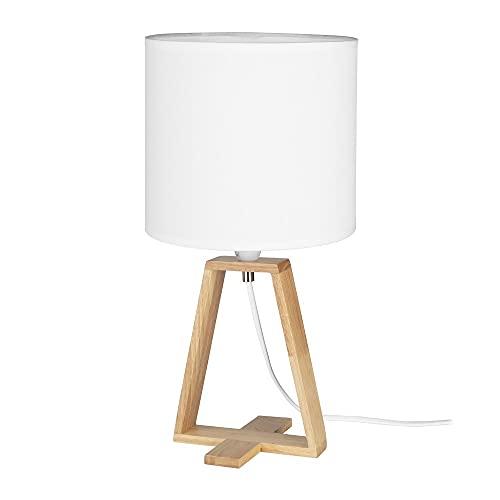 Forlight Nuts - Lámpara de sobremesa Pantalla Drum E27 40W Blanco