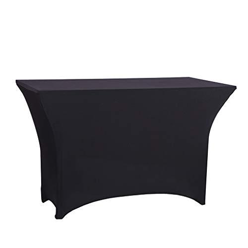 Qbylyf 4FT Rectangular Table Cover Table Nappe Stretch étirable à Quatre Voies Nappe Nappe pour la fête en Plein air DJ Tradeshows Banquet vendeurs Mariages célébrations