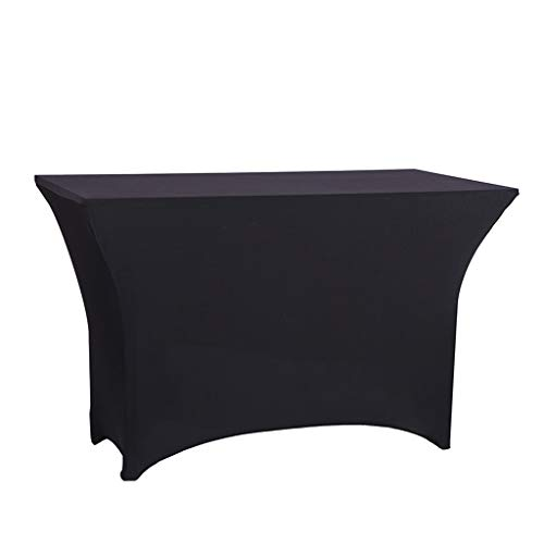 Blackjack tafel 6FT Rechthoekige tafel dekken Spandex Lycra Stretch Wedding Party Hotel Party Meeting Table Rok (Color : Black, Size : 183 * 90 * 75cm)