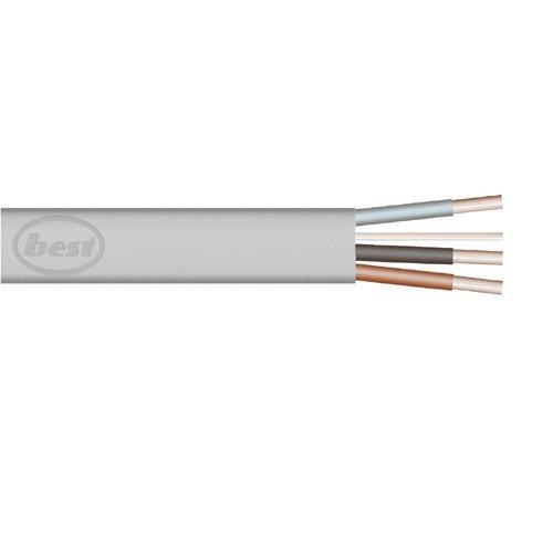 Bulk Hardware BH01439 1,0 mm Flache 3-adrige Kabel Plus Erde 6243Y, 5 Meter Grau, Weiß