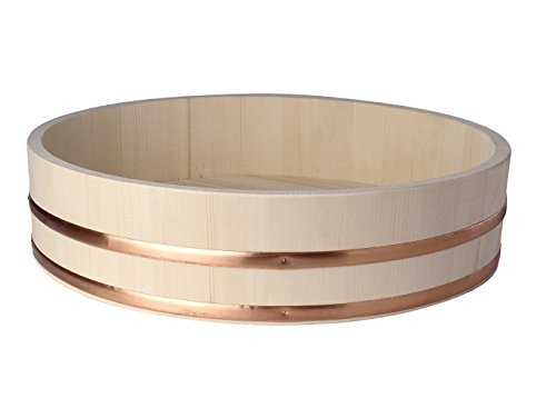 Pamai Pai® Hangiri houten kom 27 cm voor de sushi bereiding professionele rijstkom