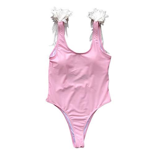 Hiigswim Traje de baño de una Pieza Bikini para Mujer Hollow Back Traje de baño Sexy Forma de ala Ropa Deportiva (Color : Pink, Size : S)