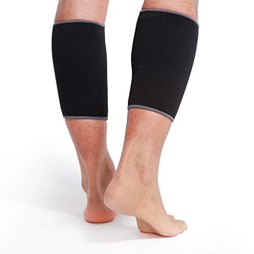 Banda de sujeción para la pantorrilla (1 Par) - Tejido ligero, elástico y transpirable - Marca Neotech Care - Compresión media - Negro (Talla S)