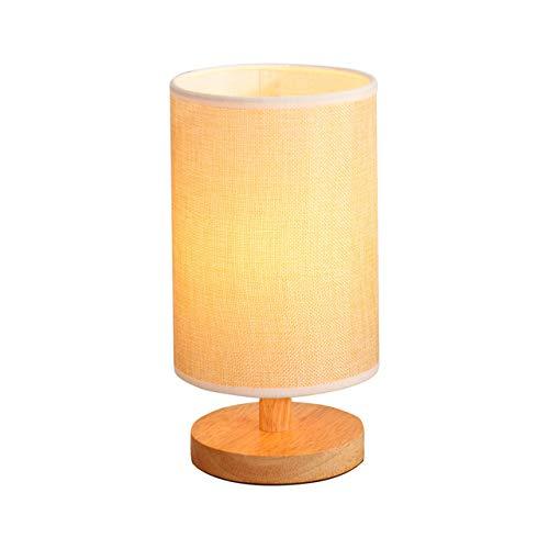Moderna lámpara de mesa sencilla para dormitorio, mesita de noche, de madera, LED, lámpara de noche para habitación infantil, lectura o trabajo, redonda