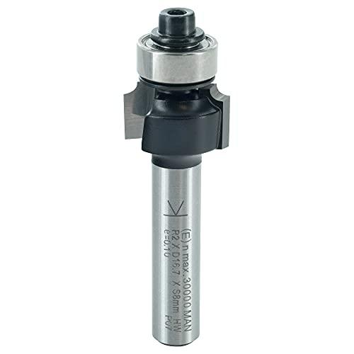 ENT 14280 Abrundfräser HW, Schaft (S) 8 mm, Durchmesser (D) 16,7 mm, NL 9,5 mm, R 2 mm, SL 32 mm, mit Kugellager