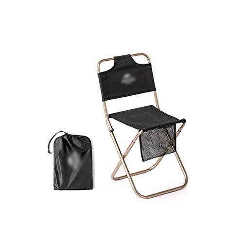 LQ-zhedieyi Klapstoel voor buiten, aluminium leuningstoel voor buiten, schetsen, vissen, klein paard, lijn, draagbaar, zwart, 24 x 24 x 46,5 cm