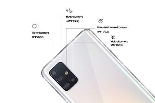 Samsung Galaxy A51 Android Smartphone ohne Vertrag, 4 Kameras, 6,5 Zoll Super AMOLED Display, 128 GB/4 GB RAM, Dual SIM, Handy in weiß